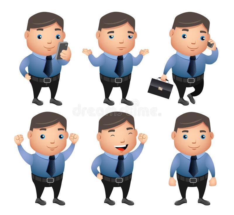 Juego de caracteres del vector del hombre de negocios con gestos y posturas stock de ilustración