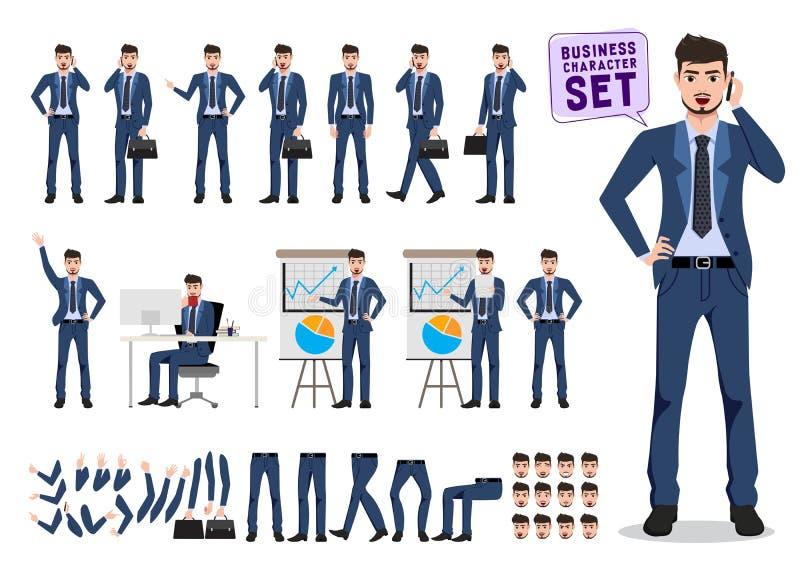 Juego de caracteres del vector del hombre de negocios Oficinista de sexo masculino que lleva a cabo el teléfono móvil y hablar stock de ilustración