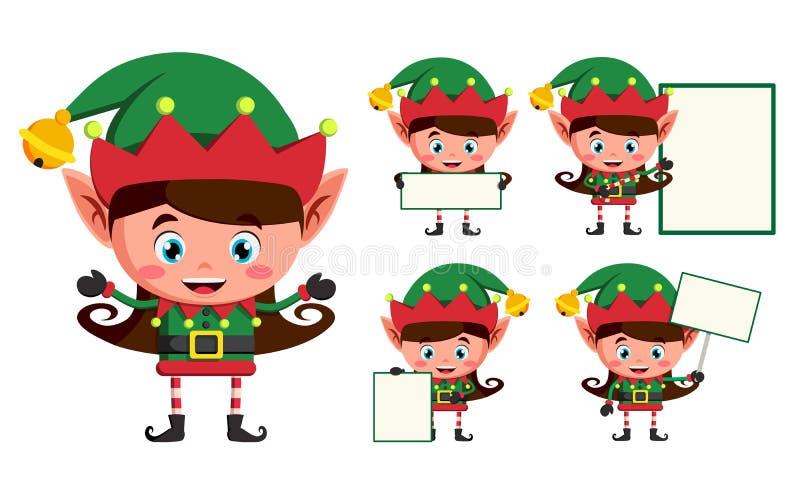 Juego de caracteres del vector de la Navidad del duende Trabajo de los personajes de dibujos animados de los duendes de la muchac ilustración del vector