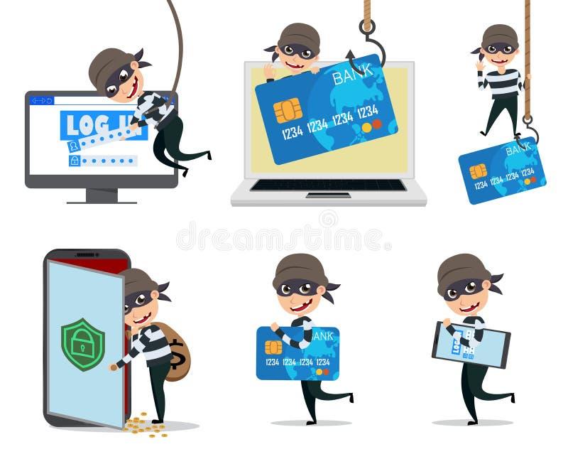 Juego de caracteres del vector del pirata informático de ordenador Ladrón cibernético de la seguridad que corta el ordenador y la stock de ilustración