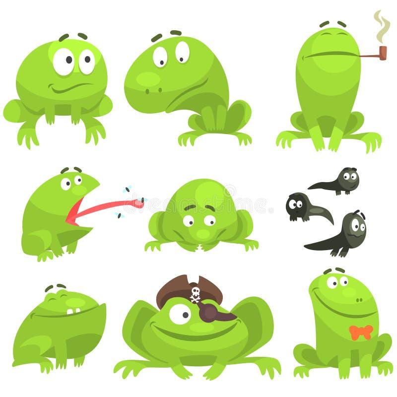 Juego de caracteres divertido de la rana verde de diversas emociones ilustración del vector