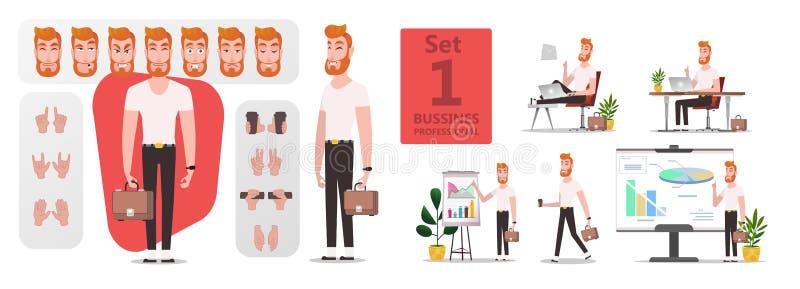 Juego de caracteres estilizado de la creación del hombre de negocios ilustración del vector