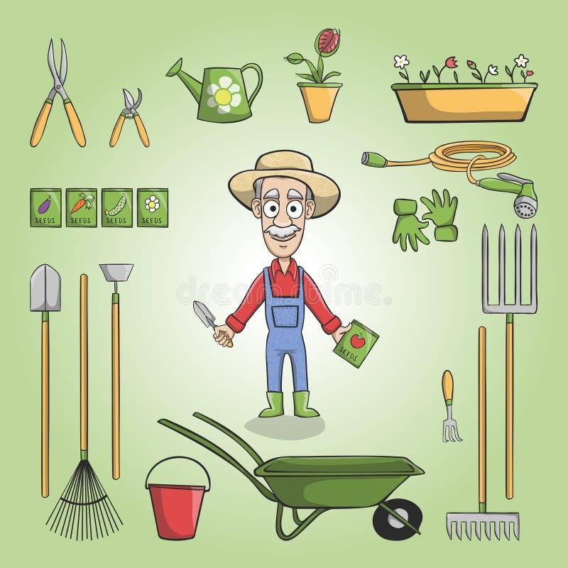 Juego de caracteres feliz del jardinero ilustraci n del for Trabajo jardinero