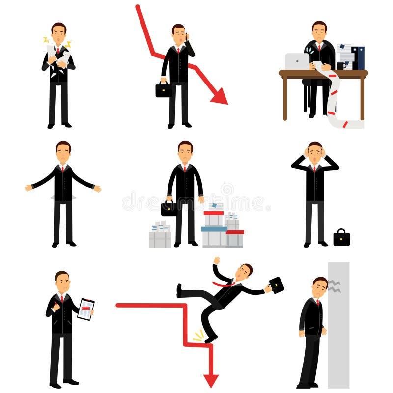 Juego de caracteres frustrado del hombre de negocios, negocio y fracaso financiero stock de ilustración