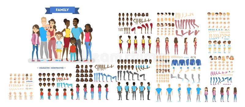 Juego de caracteres grande de la familia para la animación stock de ilustración