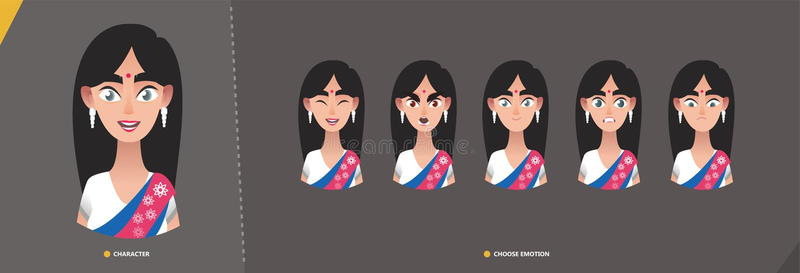 Juego de caracteres indio de la muchacha de la mujer de emociones ilustración del vector