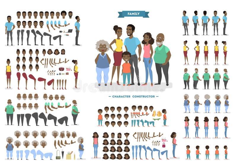 Juego de caracteres de la familia para la animación ilustración del vector