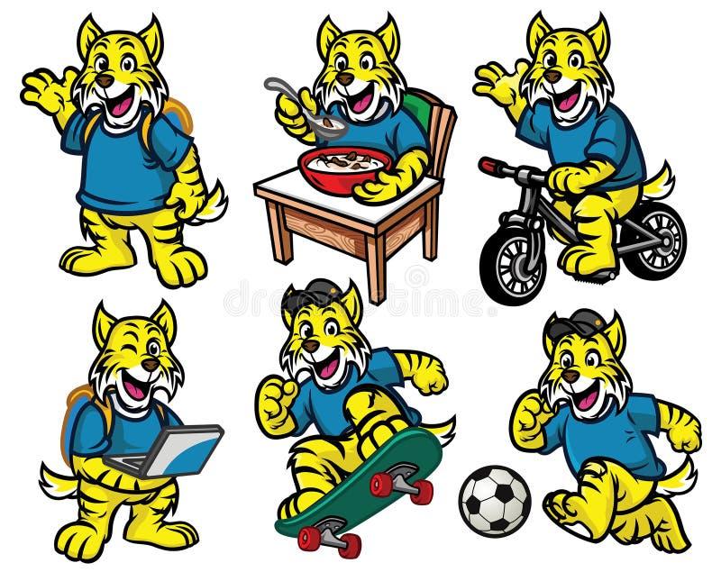 Juego de caracteres de la historieta del pequeño gato montés lindo ilustración del vector