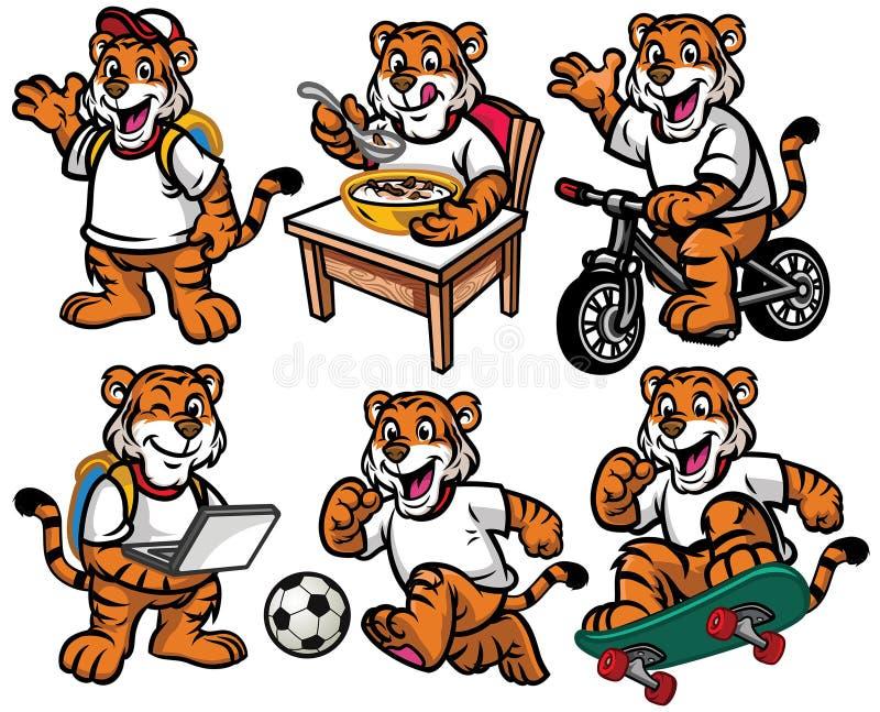 Juego de caracteres de la historieta del pequeño tigre lindo ilustración del vector