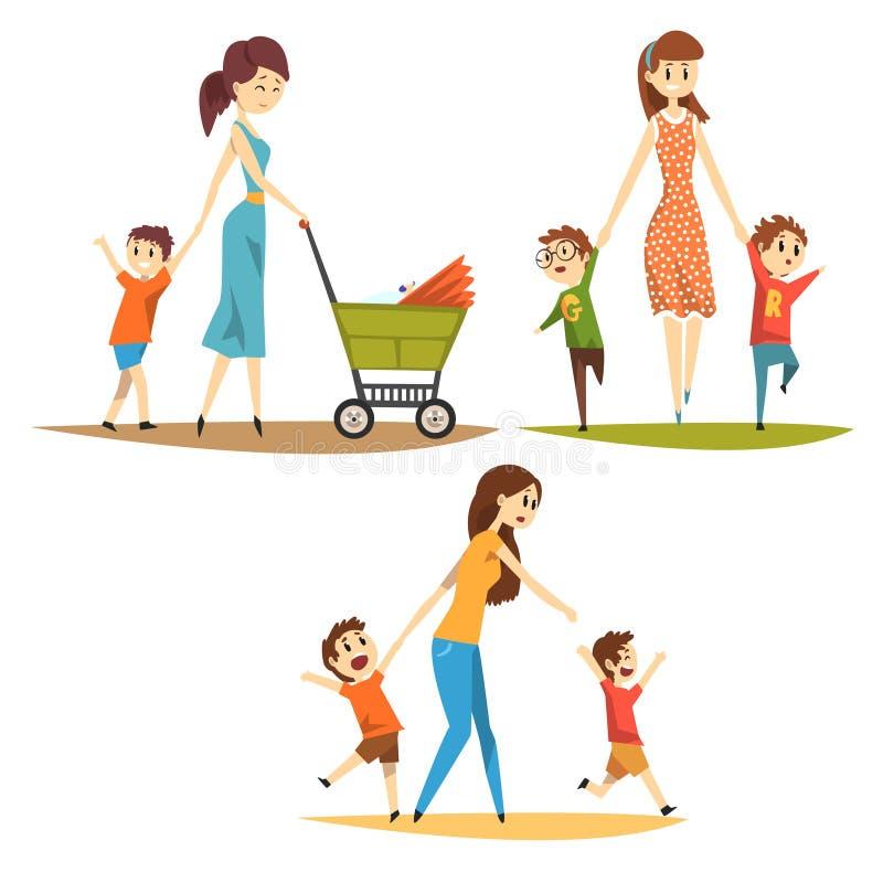 Juego de caracteres de la historieta de madres jovenes con los niños Mujer bonita con recién nacido en carro de bebé, muchachos t stock de ilustración
