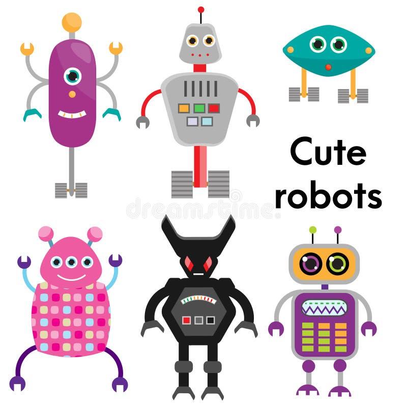 Juego de caracteres lindo de los robots Ejemplo del vector, elementos aislados del diseño libre illustration
