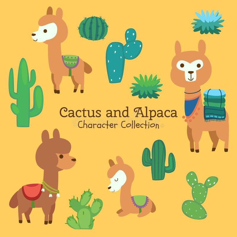 Juego de caracteres lindo del cactus y de la alpaca stock de ilustración