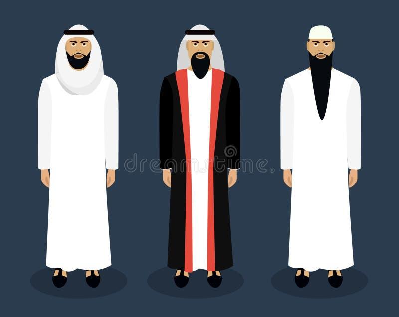 Juego de caracteres masculino árabe Ilustración del vector stock de ilustración