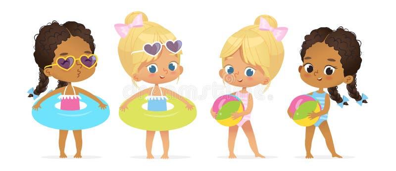 Juego de caracteres multirracial de la muchacha de la fiesta en la piscina feliz ilustración del vector