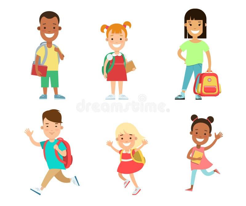 Juego de caracteres plano de los niños felices Embroma edu ilustración del vector