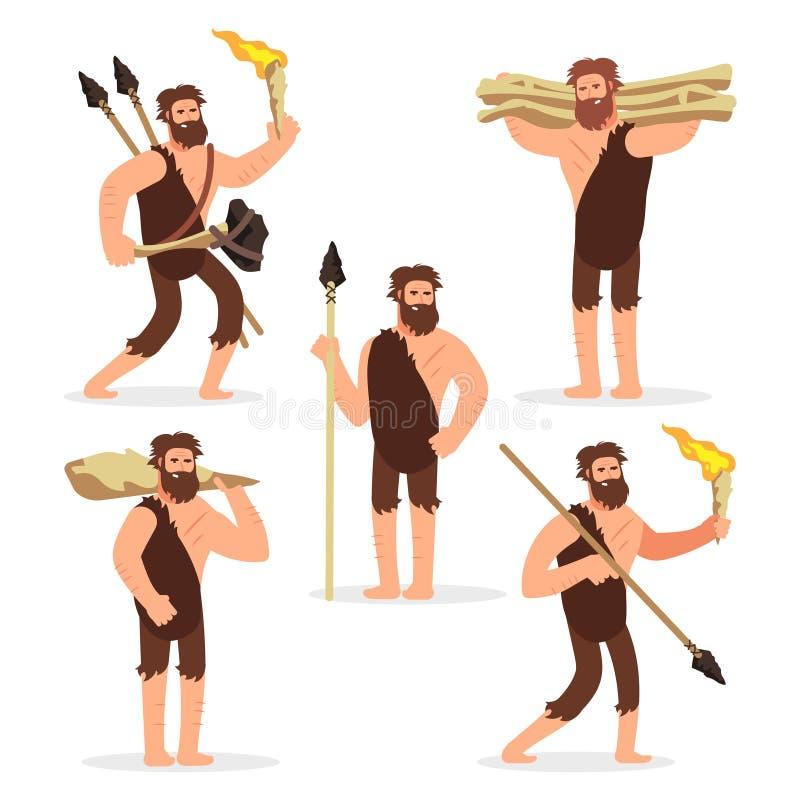 Juego de caracteres primitivo de la historieta de los hombres de la Edad de Piedra libre illustration