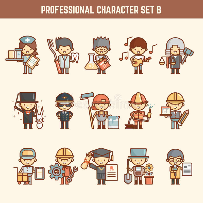 Juego de caracteres profesional libre illustration