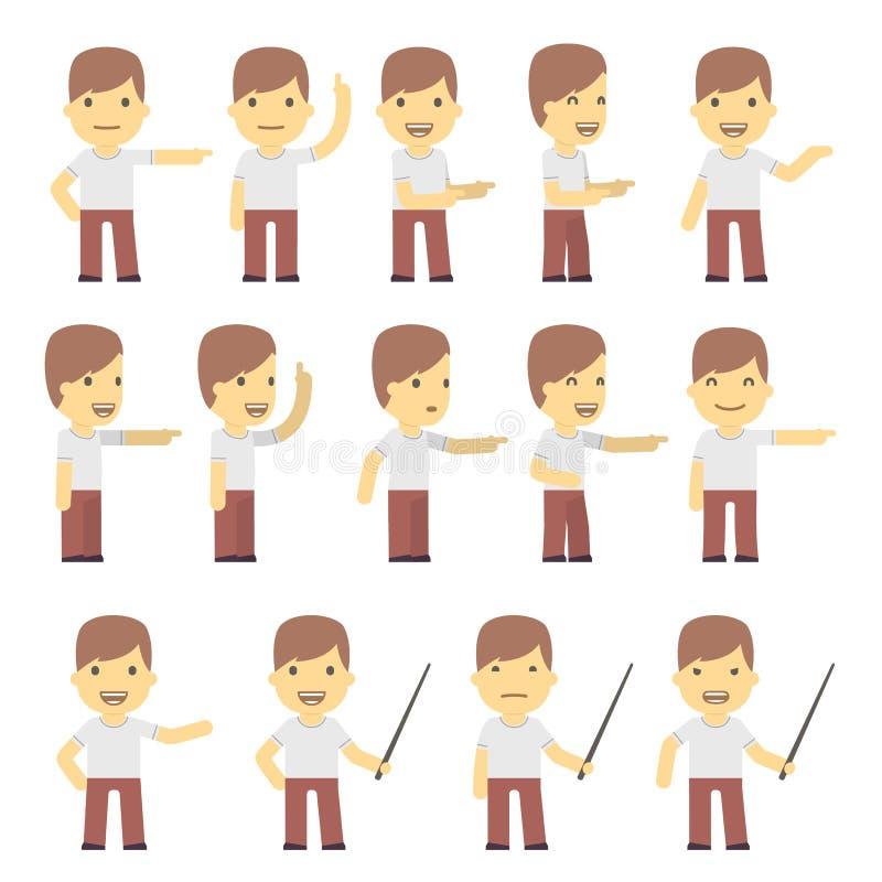Juego de caracteres urbano en diversas actitudes. simple stock de ilustración