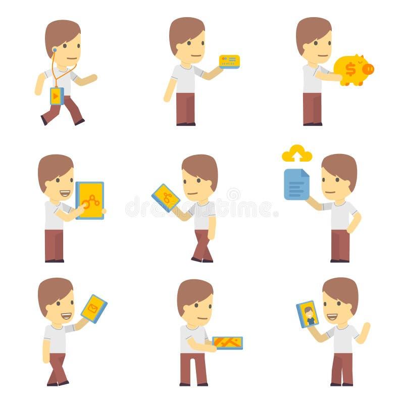Juego de caracteres urbano en diversas actitudes. simple ilustración del vector