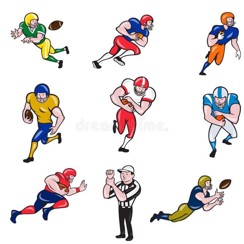 Juego de colección de caricaturas de jugador de fútbol americano stock de ilustración