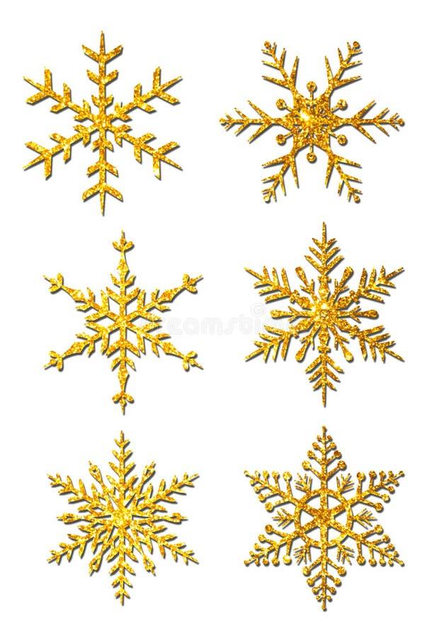 Juego de copos de nieve Gold Glitter Christmas Snowflakes stock de ilustración