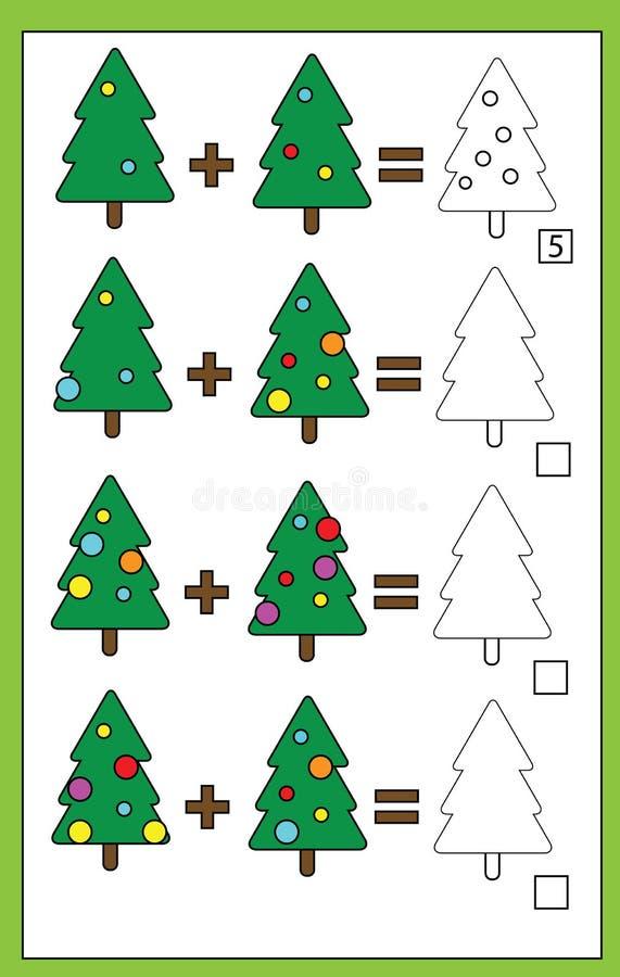 Juego de cuenta educativo para los niños, hoja de trabajo de la adición, tema de la matemáticas de la Navidad ilustración del vector