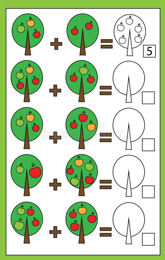 Juego de cuenta educativo para los niños, hoja de trabajo de la matemáticas de la adición ilustración del vector