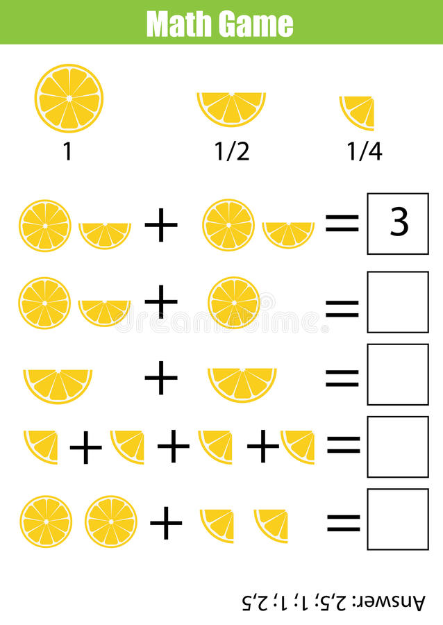 Juego de cuenta educativo para los niños, hoja de trabajo de la matemáticas de la adición stock de ilustración