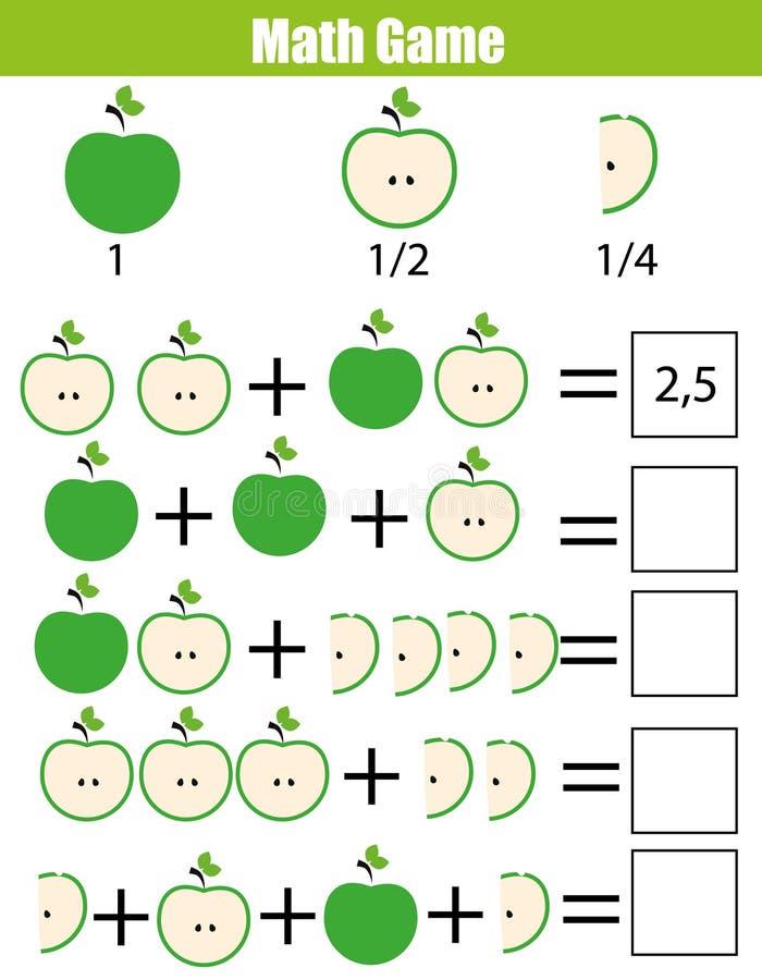 Juego de cuenta educativo para los niños, hoja de trabajo de la matemáticas de la adición Aprendizaje de fracciones, mitad, cuart ilustración del vector
