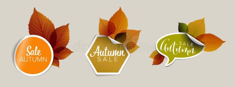 Juego de entradas de descuento vectorial de otoño, etiquetas, sellos, pegatinas stock de ilustración
