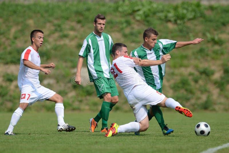 Juego de fútbol de Kaposvar - de Szentlorinc imagen de archivo libre de regalías