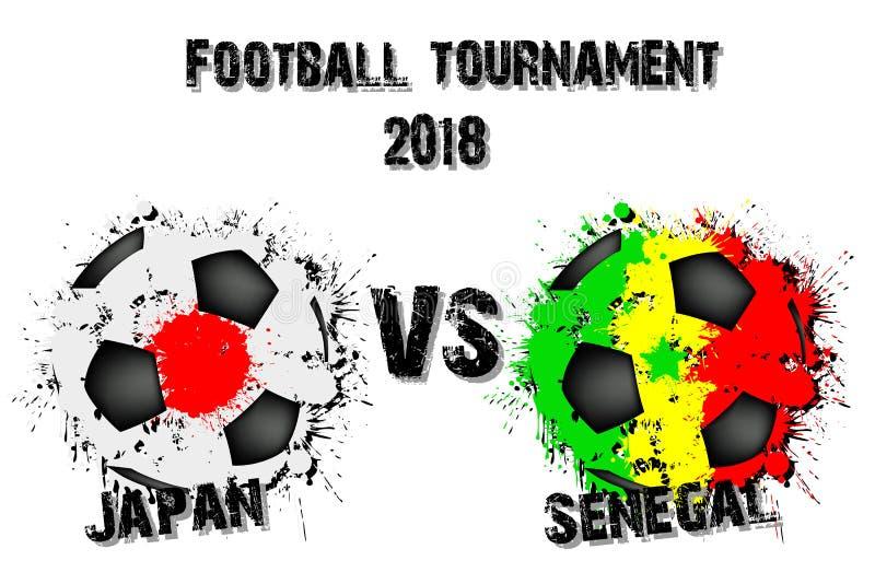 Juego de fútbol Japón contra Senegal stock de ilustración