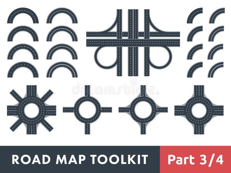 Juego de herramientas del mapa de camino ilustración del vector