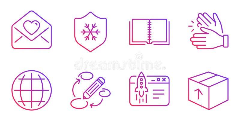 Juego de iconos de libro, palmas y cartas de amor Señales Globe, Start business y Keywords Vector stock de ilustración