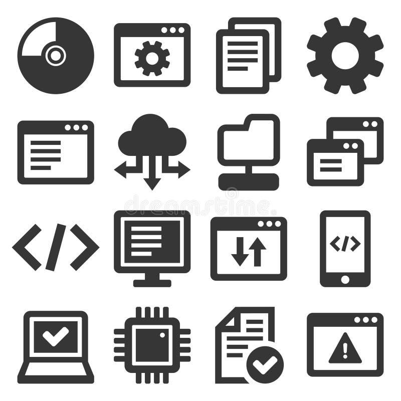 Juego de iconos de programación de software y hardware. Vector ilustración del vector