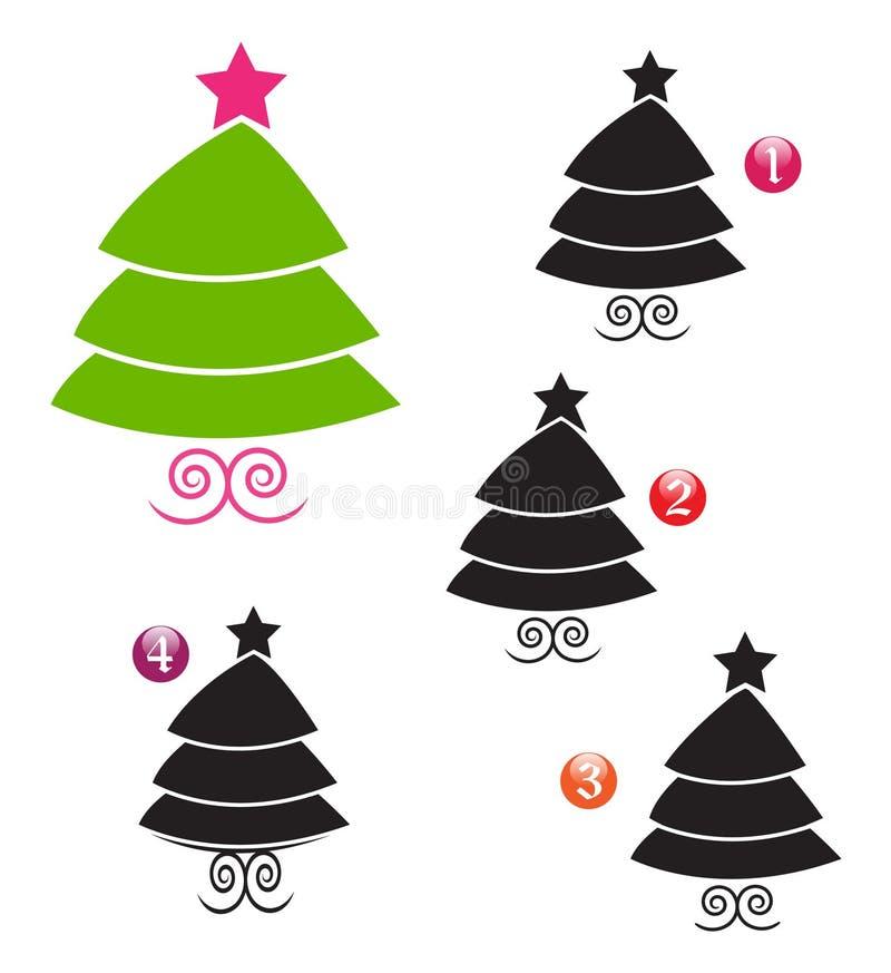 Juego de la dimensión de una variable de Navidad: árbol ilustración del vector