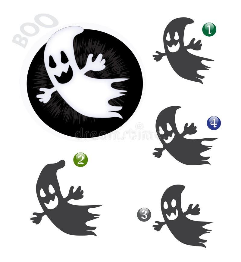 Juego de la dimensión de una variable de Víspera de Todos los Santos: el fantasma stock de ilustración