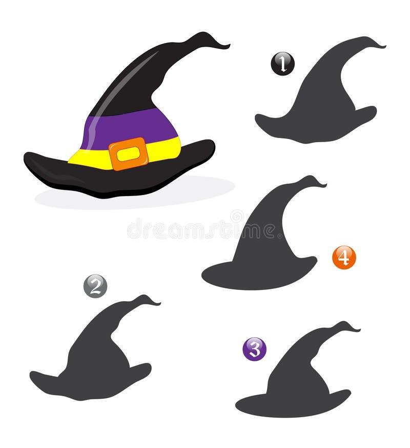 Juego de la dimensión de una variable de Víspera de Todos los Santos: el sombrero de la bruja ilustración del vector