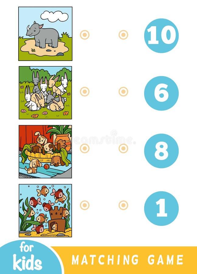 Juego a juego de la educación para los niños Animales de la historieta en un fondo coloreado - rinoceronte, conejos, perros, pesc libre illustration