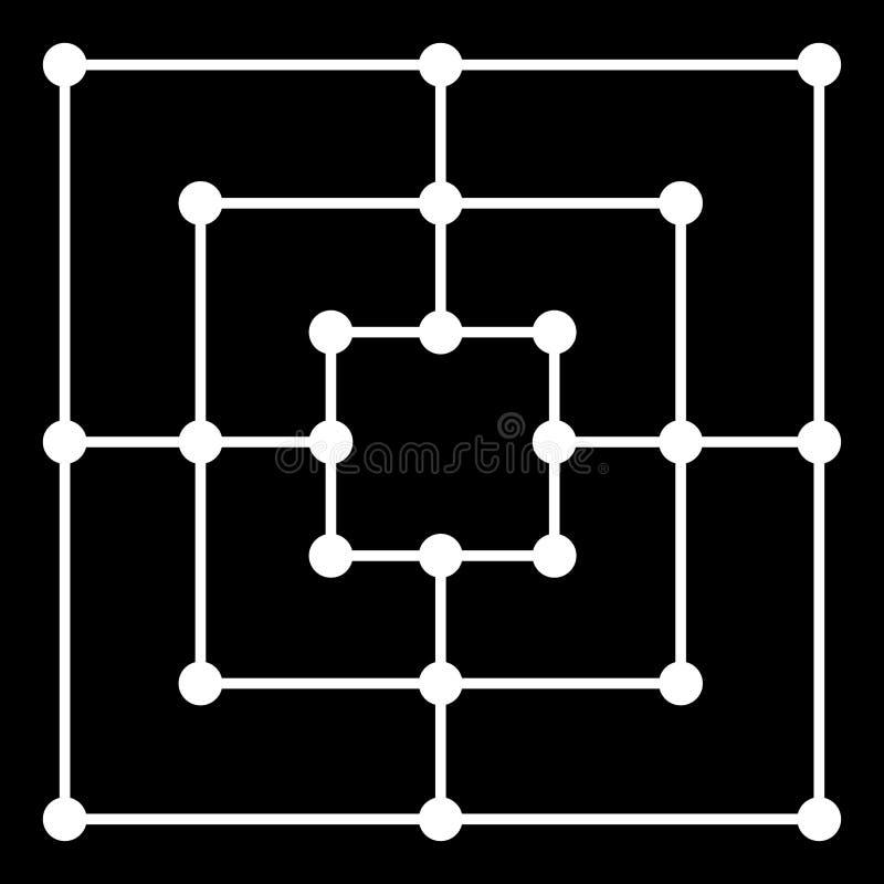 Juego de la estrategia del tablero del ` s morris de nueve hombres aislado ilustración del vector