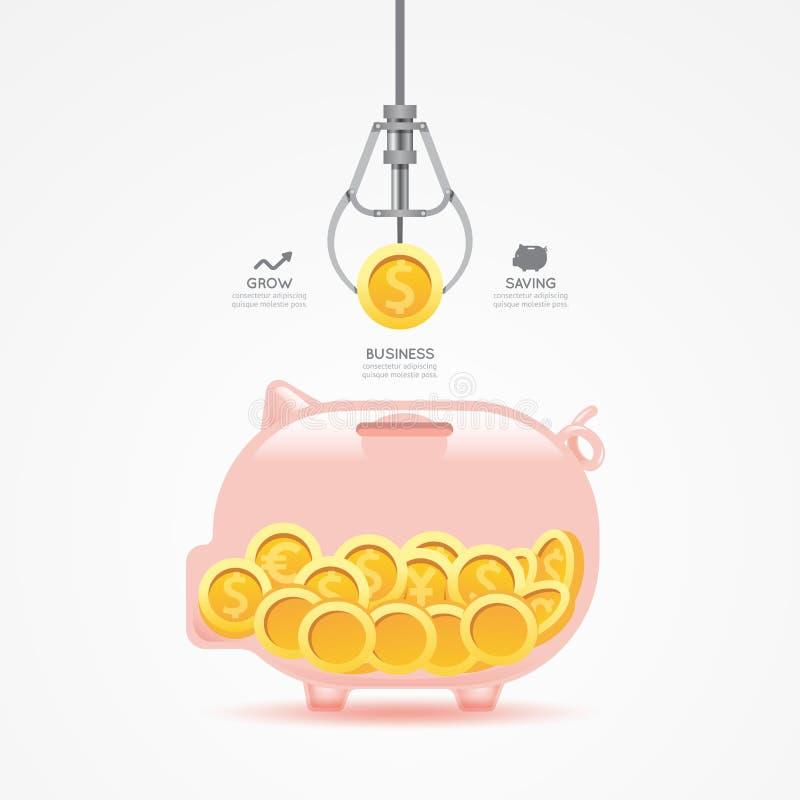 Juego de la garra del negocio de Infographic con la hucha de la moneda ilustración del vector