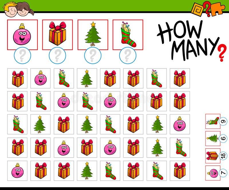 Juego de la historieta de cuántos objetos de la Navidad stock de ilustración