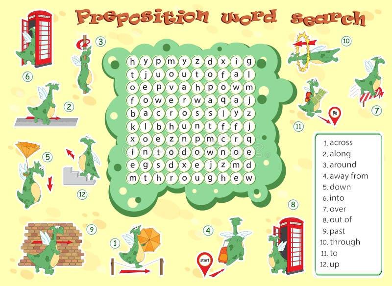 Juego de la lógica para aprender inglés Encuentre las palabras ocultadas por vertic stock de ilustración