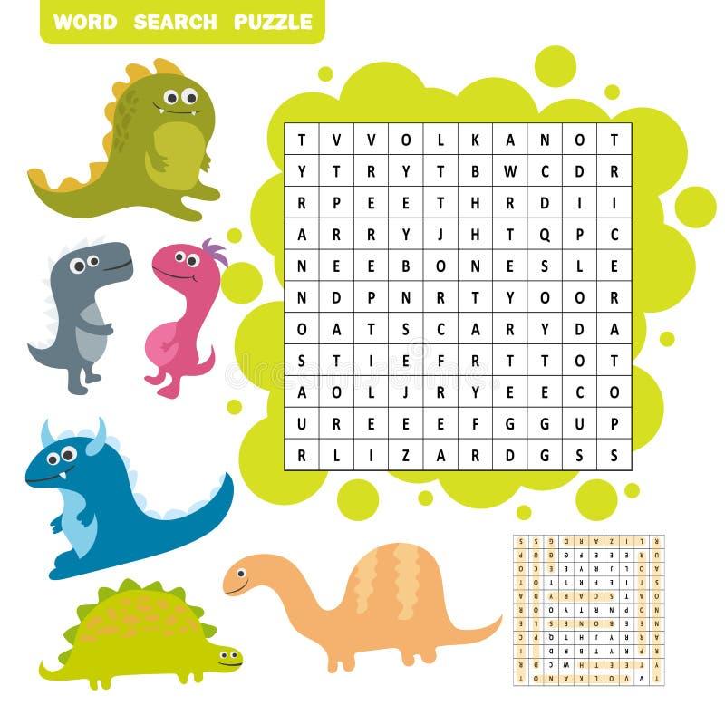Juego de la lógica para aprender inglés Palabras de Dino del hallazgo - rompecabezas de la búsqueda de la palabra stock de ilustración