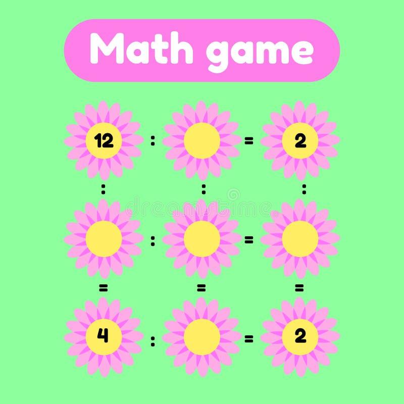 Juego de la matemáticas para el preescolar y los niños de edad de escuela Cuente e inserte los números correctos división Claro c ilustración del vector