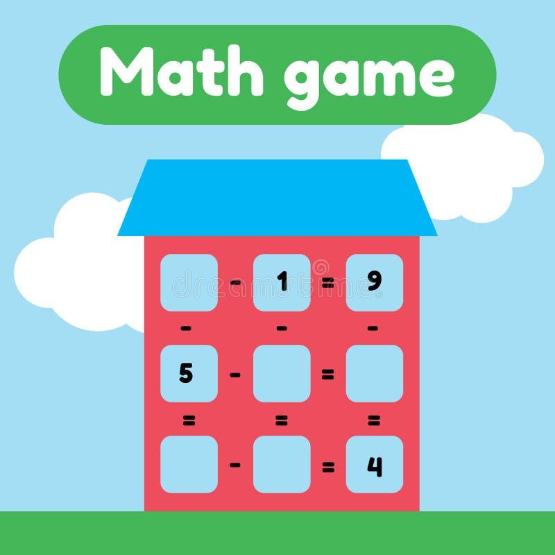 Juego de la matemáticas para el preescolar y los niños de edad de escuela Cuente e inserte los números correctos substracción Cas libre illustration