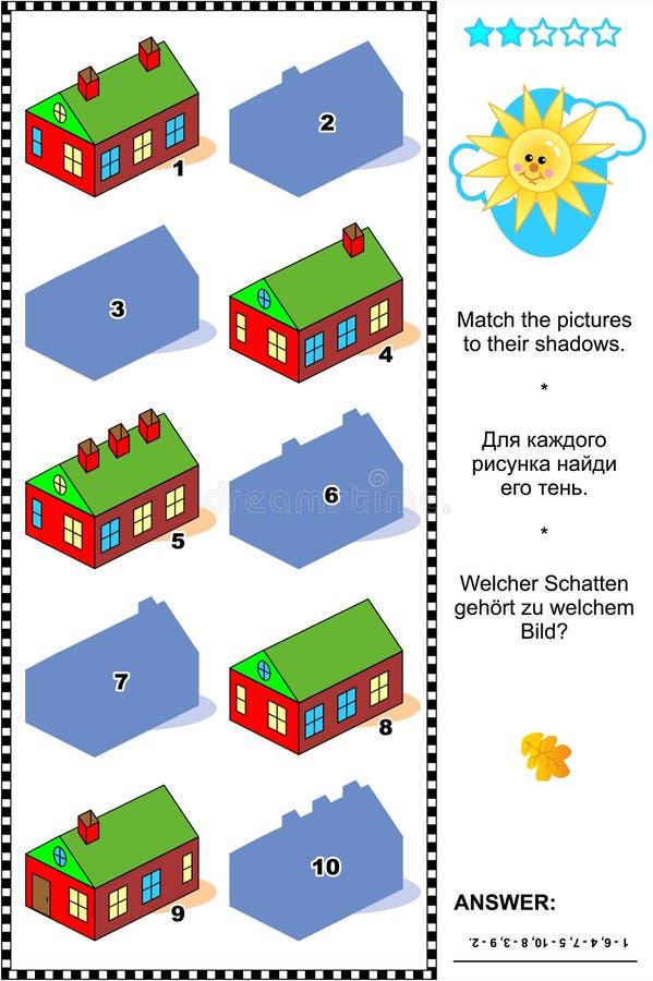 Juego de la sombra con las casas de campo ilustración del vector