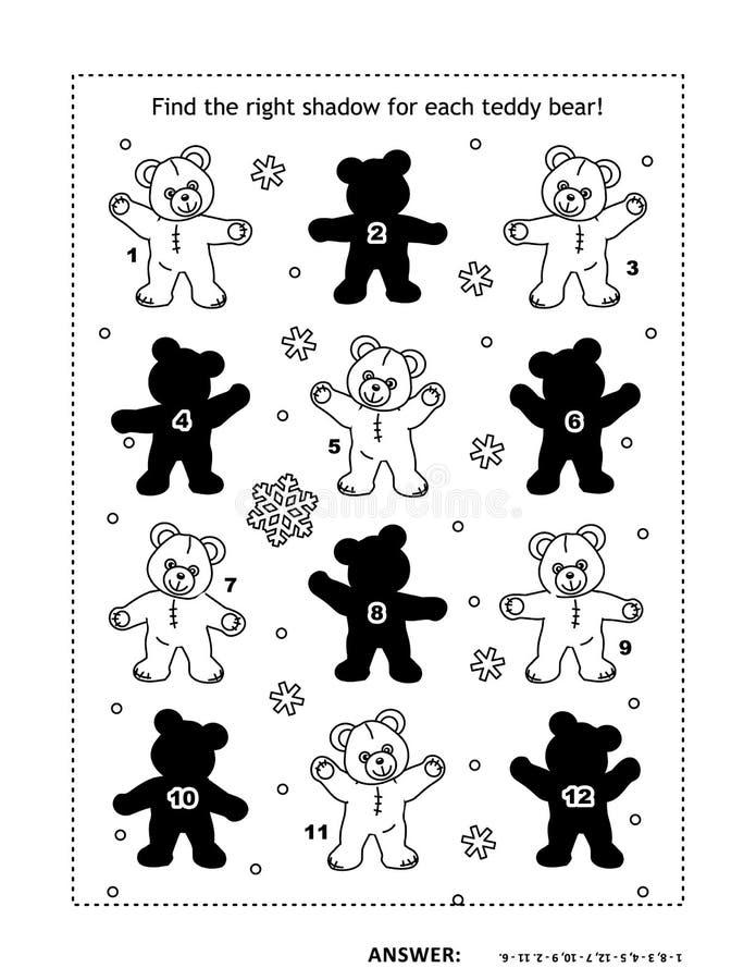 Juego de la sombra con osos de peluche stock de ilustración