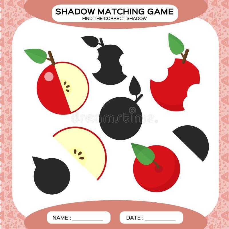 Juego a juego de la sombra Encuentre las sombras correctas Página de la actividad para los niños Hojas de trabajo de la guardería stock de ilustración