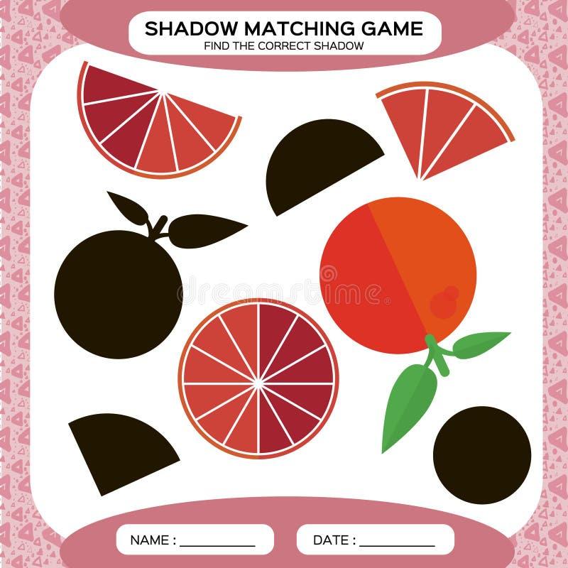 Juego a juego de la sombra Encuentre las sombras correctas Página de la actividad para los niños Hojas de trabajo de la guardería libre illustration